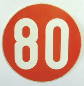 VECCHIO ADESIVO AUTO / Old Car Sticker _ LIMITE DI VELOCITA' 80 KM/H (cm 12) b