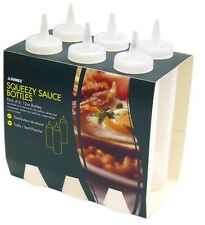 Set of 6 Squeezy Plastic Sauce Bottles Red Yellow Clear Brown Ketchup Mustard