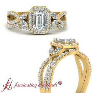 Halo Vine Split Diamond Wedding Ring Set With Emerald Cut In Center 1.65 Carat