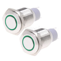 2 Ppcs 16mm 12V Led Angel Eye Push Button Switch Green Metal Momentary