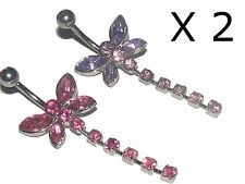 Set of 2 Crystal DRAGONFLY BELLY BARS - As shown in Picture (Ref 001)