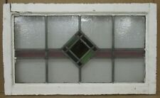 "OLD ENGLISH LEADED STAINED GLASS WINDOW TRANSOM Diamond Design 28"" x 16.75"""