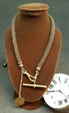ANTIQUE VICTORIAN MOURNING POCKET WATCH CHAIN HANDWOVEN BRASS T BA & FOB