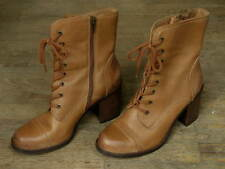 Steve Madden Steven Whit Lace Up Boots Tan Brown Leather Ladies 10