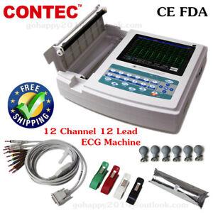 12 channel 12 leads ECG machine ECG1200G electrocardiogram Printer Sync software