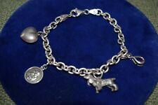 Vintage Sterling Silver Charm Bracelet & 4 Charms Amethyst Dog Angel Puffy Heart