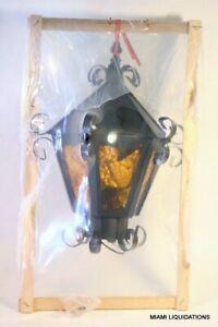 American Lantern 631 BLK Light Fixture Ceiling Black Metal Amber Glass Vintage