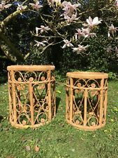 On Trend Pair of Mid Century 70s Boho Bamboo Side Tables / Nesting Tables
