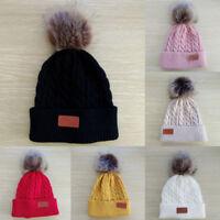 Baby Beanie Boys Girls Cap Cotton Letter Knitted Ball Winter Warm Children Hats
