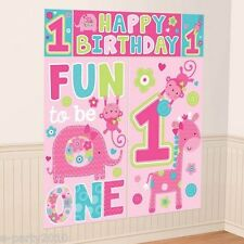 1st Birthday One Wild Girl Wall Poster Decorating Kit (5pc) ~ Party Supplies