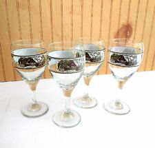 4 FRIENDLY VILLAGE Johnson Bros Wine Water GOBLETS GLASSES Covered Bridge MINTY