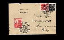 Germany Switzerland Hitler 1939 Berlin Birthday Stamp & Cancel Uprated Cover 6n