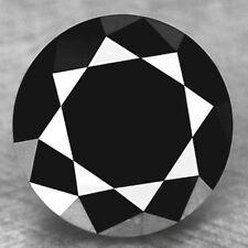 1.50ct NATURAL LOOSE DIAMOND JET BLACK OPAQUE ROUND BRILLIANT CUT NR