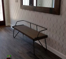 Industrial Dining Bench Vintage Hallway Seat Solid Rustic Wood Metal Style Chair