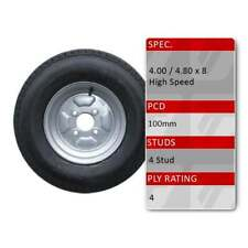 """TRIDENT 4.80/4.00-8 4 Stud 100mm PCD 8"""" Trailer Spare Wheel Tyre Assembly 4 Ply"""