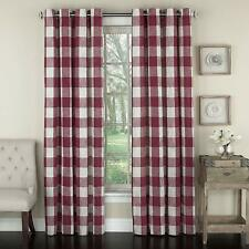 "Courtyard Plaid Woven Curtain Panel with Grommets, Red, 84"" length, Lorraine"