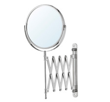 3× Magnifying Extending Bathroom Shaving Make up Vanity Mirror 2-Side Wall Mount
