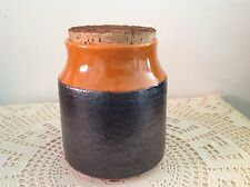 HANSTAN 5 SIGNED LARGE ORANGE AND BROWN VINTAGE POTTERY CANISTER WITH CORK LID
