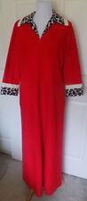 Vintage Vanity Fair Red Velour Leopard Print Robe Zip Front Size 12