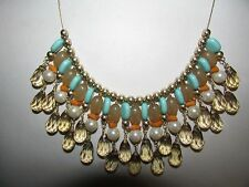 JOAN RIVERS GOLD EP FACETED TOPAZ PEARL BEAD TURQUOISE ADJUSTABLE BIB NECKLACE