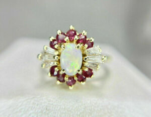 2.20 CT Oval Halo Fire Opal And Pink Ruby Cluster Ring 14K Yellow Gold Finish