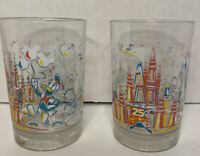 Set of 2 Vintage Walt Disney World 25th Anniversary Glasses Remember The Magic