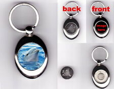 DOLPHIN TROLLEY COIN TOKEN KEYRING - ANIMAL LOVER PHOTO GIFT