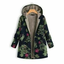 New Parka Hooded Fluffy Jacket Winter Outwear Women's Floral Warm Padded Coat