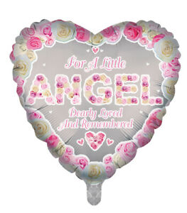 Luxury foil Balloons Angel Pink Heart Shape Remembrance Memorial Funeral Balloon