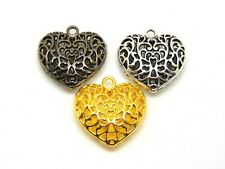 3 Pcs - Mixed Colour Large Puffed Filigree Heart Pendants Tibetan Silver O133