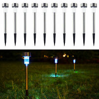 10 Pack Outdoor Solar LED Power Light Landscape Stainless Steel Garden Pathway