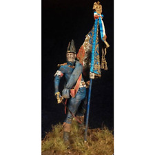 1:24 Military Officer With Flag Resin Figure Model Kit Unassambled Unpainted