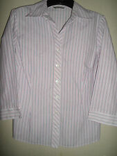 M&S MARKS AND SPENCER RED / WHITE & BLUE FITTED COTTON & POLYESTER BLOUSE SIZE 8