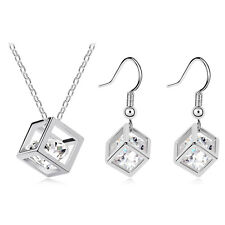 White Magic Cube Jewellery Set with White Zircons Drop Earrings & Necklace S419