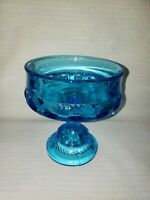 Indiana Glass Aqua Blue Thumbprint Kings Crown Compote Candy Dish