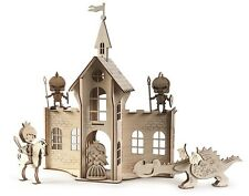 save the princess wooden toy - puzzle for kids Timber castle with knight dragon