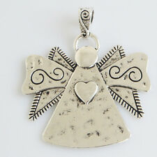 2 Antique Silver Large Angel Charms  Pendants 63*59mm Jewelry Necklace Findings