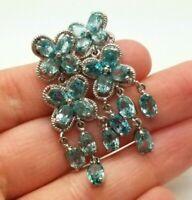 Natural Blue Topaz Fine Gems Sterling Silver 925 Earrings 10g KAT766