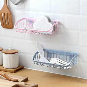 DI- Plastic Suction Cup Bathroom Kitchen Storage Rack Organizer Shower Shelf Fil