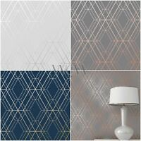 WORLD OF WALLPAPER METRO DIAMOND GEOMETRIC METALLIC - COPPER GOLD SILVER