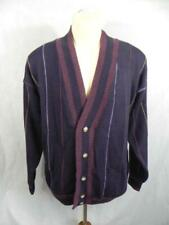 Vtg 90's STRUCTURE mens L Purple Stripe Cardigan SWEATER Oversized Heavy V n26