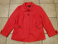 Style & Co~RED PEACOAT~size LARGE~NEW~3/4 Sleeves Jacket WOOL Blend LINED Coat