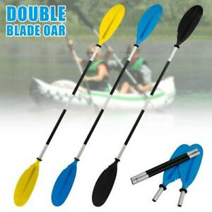 220cm Kayak Paddle Aluminium Paddle Asymmetrical Floating Oar Black Blue Yellow