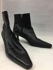 """ANNE KLEIN iflex """"Silver"""" Black Leather Ankle Boots 2¼"""" Kitten Heel - Size 8.5M"""