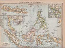 c. 1890 SINGAPORE INDONESIA PHILIPPINES BRUNEI MALAYSIA NEW GUINEA  Antic Map