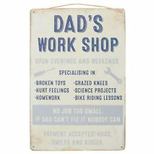 Dad's Work Shop -  Shabby Chic Metal Wall Hanging Sign