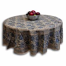 Vegetable Dye Cotton Hand Block Print Tablecloth Round 72 inches Blue