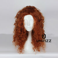 For Merida Reddish Brown 60CM Long Curly Hair Anime Party Cosplay Wig & Free Cap