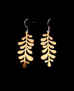 Brass hanging fern, boho earrings with sterling silver earring hooks. Gift boxed