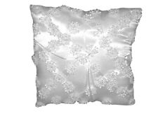White satin square ring bearer pillow with flowers